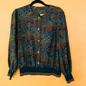 80s teal, red, gold paisley rayon button-front top